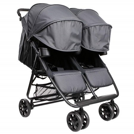 double umbrella stroller with basket and canopy
